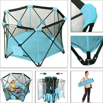 Portable Playpen Baby Folding Play Yard With Travel Bag Indoor Outdoor Blue