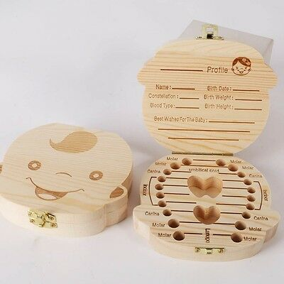 Milk Tooth Storage Box For Baby Child Kids Safe Permanent Preservation Wooden