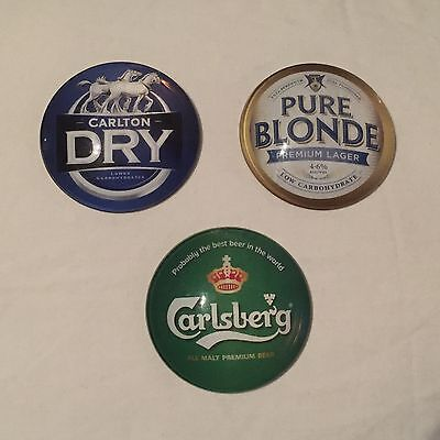 Carlton Dry Pure Blonde And Carlsberg Dome Style Beer Tap Badge, Decal, Top