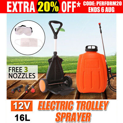 WACWAGNER 16L Electric Weed Sprayer Backpack Tank Trolley Garden Portable Spray