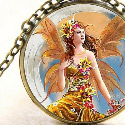New Crescent Moon Flower Fairy, Glass Pendant Necklace Fantasy Mystical Gift