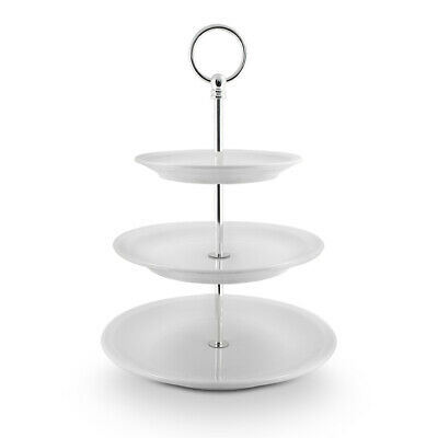 NEW Pillivuyt Three-Tier Cake Plate with Chrome Stand