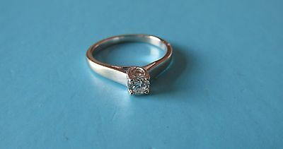 18ct White Gold Diamond Solitaire Engagement Ring - 0.25ct  Size K 1/2 - Boxed