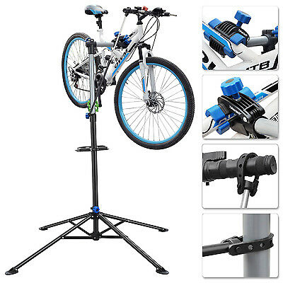 Adjustable Bike Mechanic Repair Work Stand Workshop Home Rack With Tool Tray