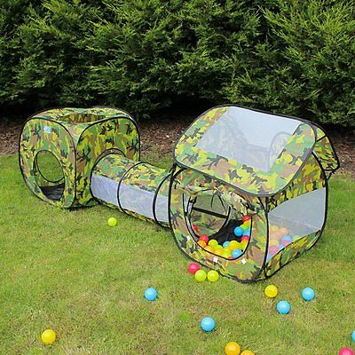 EocuSun Pop Up 3 in 1 Camo Folding Kids Play Tent with Tunnel, Ball Pit and bag