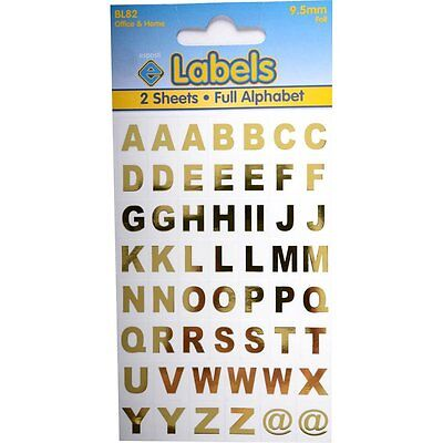 Gold Foil Reflective Metallic Letters Alphabet A-Z @ Stickers Small 9.5mm
