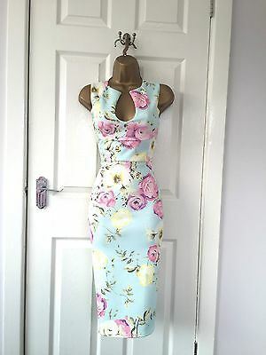 Mint Pink Floral Evening Midi Bodycon Party Dress BNWT 8 10 12 14 16 18 £65