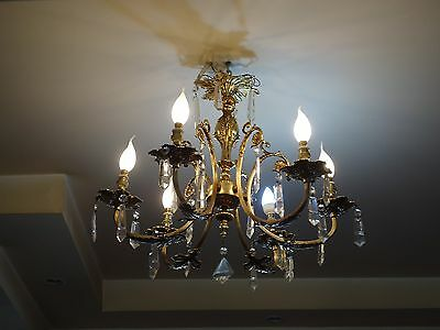 Antique Vintage Chandelier Ceiling Light With Crystal Prisms 6 Light