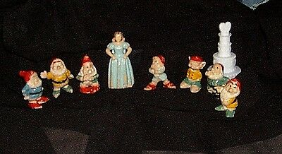 Xrare-Disney Snow White And The Seven Dwarfs 1960 Holland Miniature Figures-
