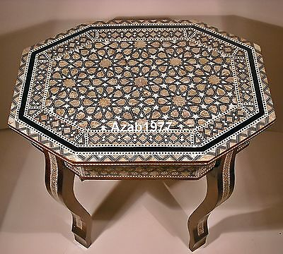 Handcrafted Egyptian Moroccan Mother of Pearl Coffee Table