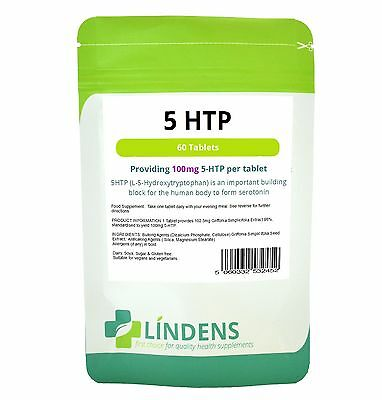 5-HTP 60 Tablets 100mg 'Lindens' Antidepressant Anxiety Insomnia Supplement