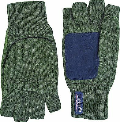Thinsulate Thermal Insulated Fold Back Trigger Finger Hunting Mittens Mitts