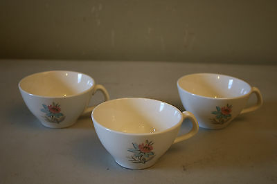 Steubenville Pottery USA Fairlane Pattern Set of 3 Teacups