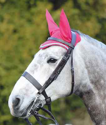 Shires Deluxe Fly Veil - Pink/Bright Blue