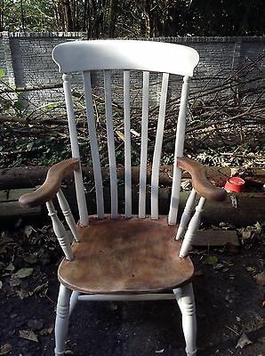 High Backed Pine Shabby Chic Antique Grandfather Chair.