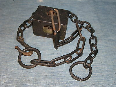 "Antique 5 lb Solid Cast Iron Gate Weight with 42"" unique Steel Chain Good Cond"