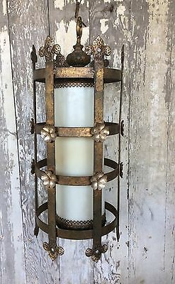 Antique Ornate Art Deco Large Hanging Light Very Renaissance