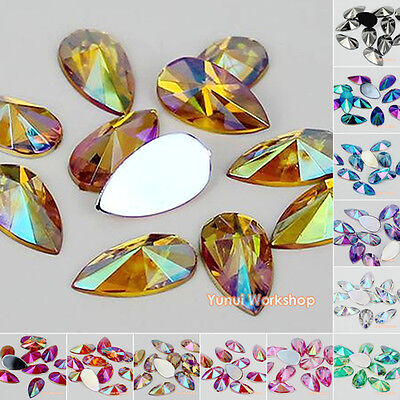Teardrop Pointed Face AB Colors Flat Back Acrylic Rhinestones Scrapbooking Craft