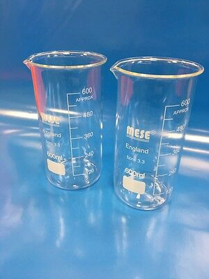 2x 600ml Borosilicate Glass Beakers, Tall-Form