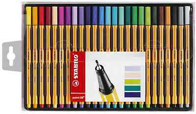 Wallet 25 Stabilo Point 88 Fineliner Technical Pens Assorted Colours 0.4mm Line