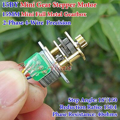 DC 5V 12V 2 Phase 4 Wire 15MM Mini Full Metal Gearbox Gear Reducer Stepper Motor