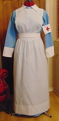 Uniform Costume Vintage Ww1 Ww2 Vad Nurse  Inspired Complete Costume Blue  White