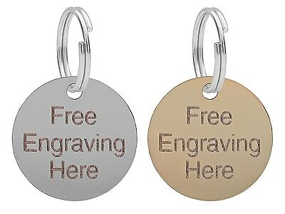 Dog Cat Pet ID Tag, Puppy Collar Tags, 25mm Engraved Free, Brass Or Nickel