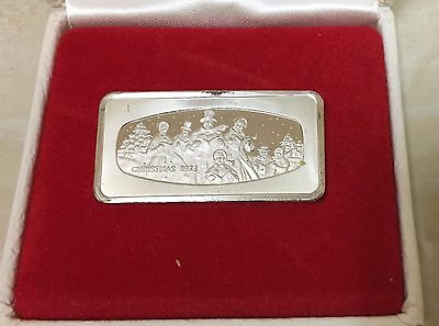 The Franklin Mint Christmas 1973 1000 Grains Sterling Silver Art Bar