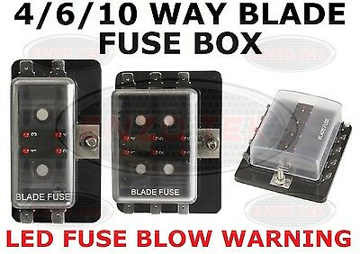 4/6/10 Way Power In Blade Fuse Box Holder With Led Failure Warning Lights