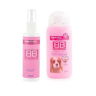 Ancol BB Shampoo 200ml & Ancol BB Cologne 100ml For Dogs Baby Powder Fragrance