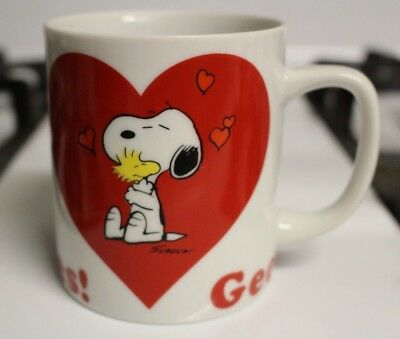 Vintage Peanuts Snoopy Woodstock Mug Gee, Somebody Cares Hearts Valentine's Day