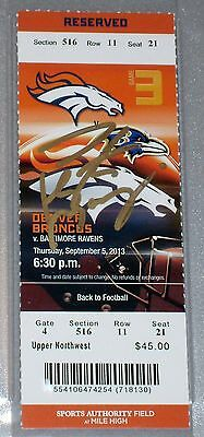 PEYTON MANNING Autograph Signed RECORD 7 TD Passes TICKET 10/5/13 Steiner PSA