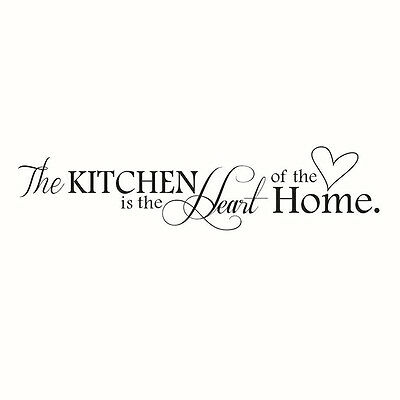 """Novelty """"The Kitchen Is The Heart Of The Home"""" DIY Removable Wall Quote BF"""