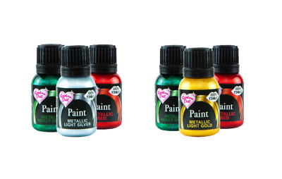 Set of 3 Rainbow Dust Metallic Edible Food Paint Colour Sugarcraft Christmas
