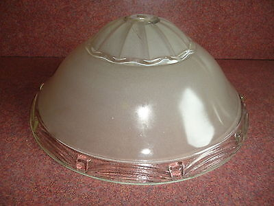 VINTAGE antique ART DECO CLEAR &  FROSTED GLASS CEILING SHADE LIGHT FIXTURE