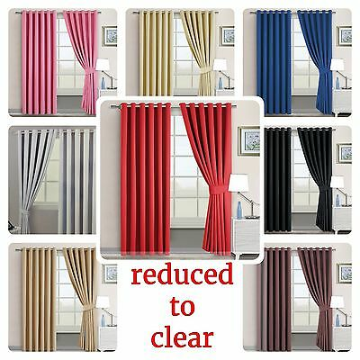 New Luxury THERMAL BLACKOUT CURTAINS Eyelet Ring Top OR Pencil Pleat & Tie backs