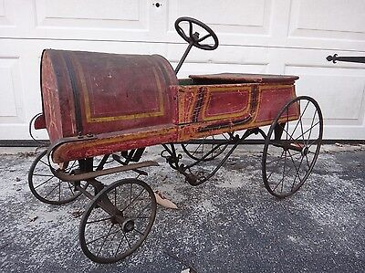 Early Antique Pedal Car by Gendron 'The Pioneer' Reliance Mfg Race Car Cast Iron
