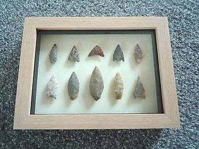 Neolithic Arrowheads in 3D Picture Frame, Authentic Artifacts 4000BC (0797)