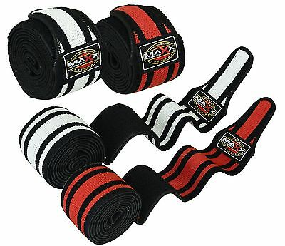 Maxx Knee Wraps Weight Lifting Bandage Strap Guard Powerlifting Pads Sleeves Gym