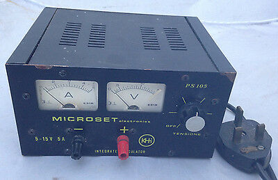 Adjustable regulated power supply 5-15V 5A  - Microset PS105