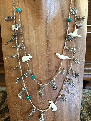 Tombstone Arizona Sterling Silver Double  Cowboy Miner Western Charm Necklace
