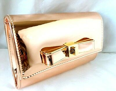 New Rose Gold Champagne Faux Patent Leather Evening Day Clutch Bag Club Prom