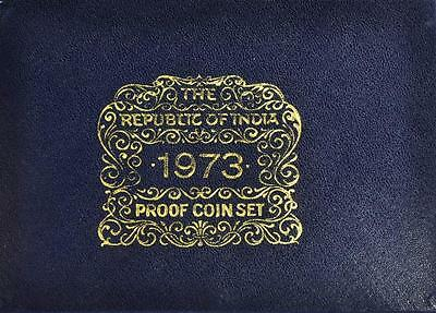India - 1973 The Republic of India Proof Coin Set Bombay Mint with Box & COA