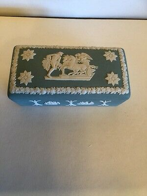 Wedgwood Porcelain Trinket Box Raised Relief Green Floral Collectible Gift