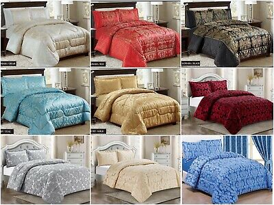 Luxurious 3PCS Quilted Jacquard Bedspread Single,Double,King,Super king /Curtain