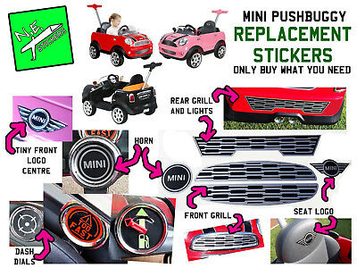 Kids MINI COOPER PUSHBUGGY replacement stickers horn dash dials seat logo grills