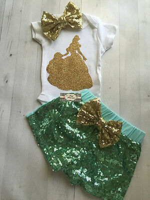 Baby Belle Gold Glitter Onesie, Onesie ONLY Beauty And The Beast