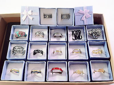 17pcs RINGS & GIFT BOXES mixed mens and ladies - Wholesale job lot retro gothic