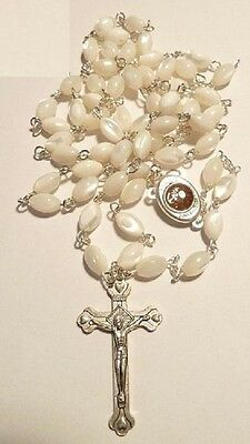 Rosary Mother of Pearl Valentine's Day Cross Gift Holy Land New Stone Crucifix