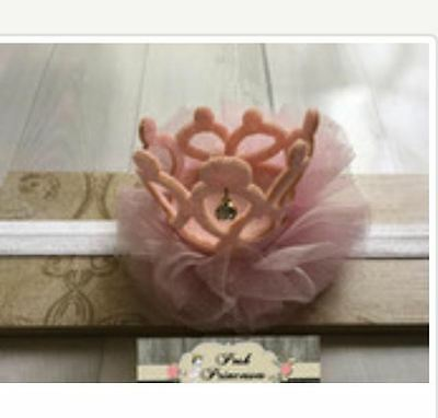 Baby Headband, Sparkle Peachy Pink Glitter Princess Tiara Crown With Tulle